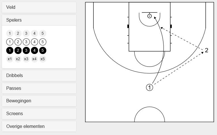 teken basketbal diagrammen voor je basketbaloefeningen